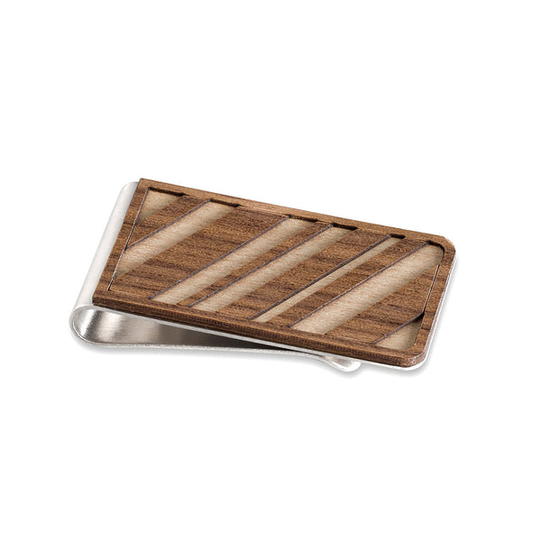 wooden money clip with diagonal lines
