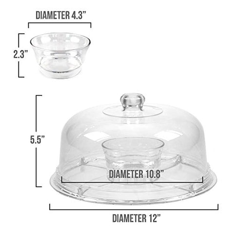 Dome Cake Stand | 6 In 1 Multifunctional 12 Inch Serving Platter With  Crystal Clear Acrylic Display For Dessert Tray Fruit Cookie Sweets Muffin  Salad