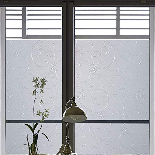 35-Inch By 78 7-Inch Non-Adhesive Window Film Glass Film Vines Privacy  Window Cling Anti Uv Design For Home And Kitchen Glass Decoration