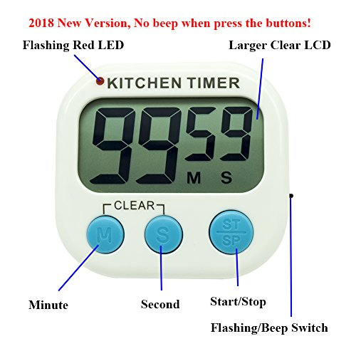 Digital Kitchen Countdown Timer, Silent Flashing/Beeping Mini Portable  Button Lcd Timer With Stand And Magnetic Back For Kids, Teachers,  Classroom,