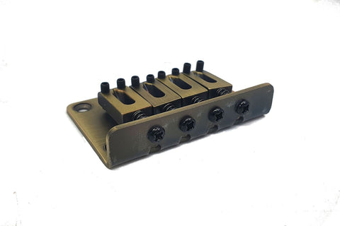 Image of 4-String Adjustable Bridge - Aged Brass