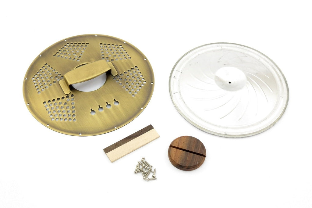 4-String Cigar Box Resonator Cone Kit Diamond Aged Brass