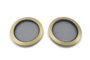 Screened Soundhole Covers Large Aged Brass 2pk