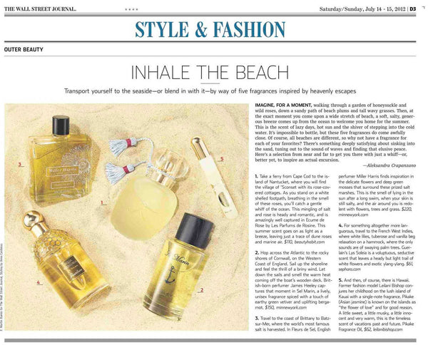Seaside fragrances by Leilani Bishop in the Wall Street Journal
