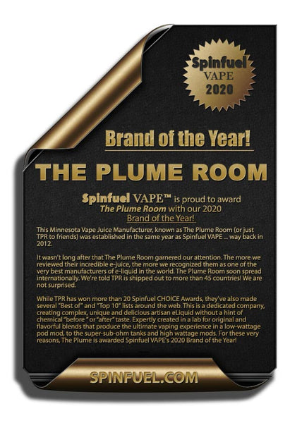 "The Plume Room wins Spinfuel's ""Brand of the Year 2020"" Award!"
