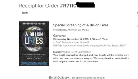 TPR bought remaining tickets for the showing of A Billion Lives