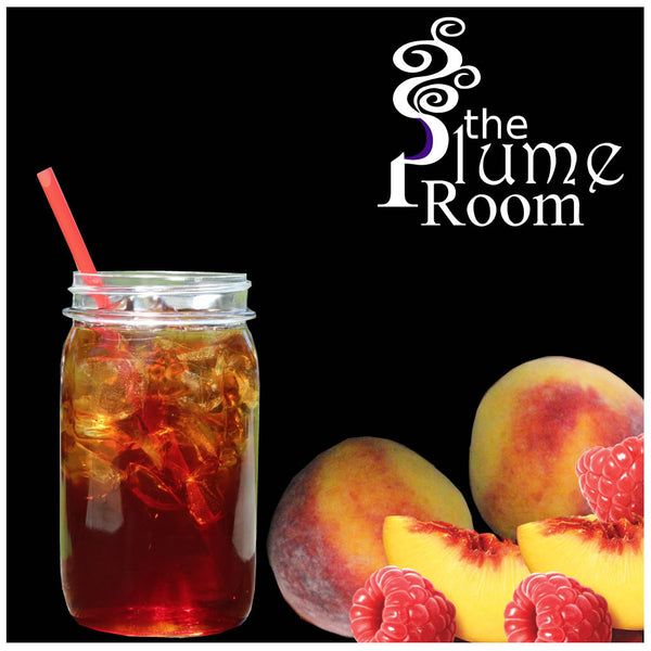 Raspberry Peach Sweet Tea ejuice. A refreshing vape ejuice.