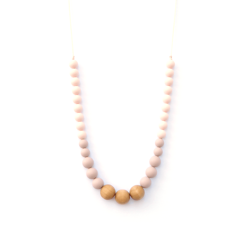 Silicone and Wood Teething Necklace Blush