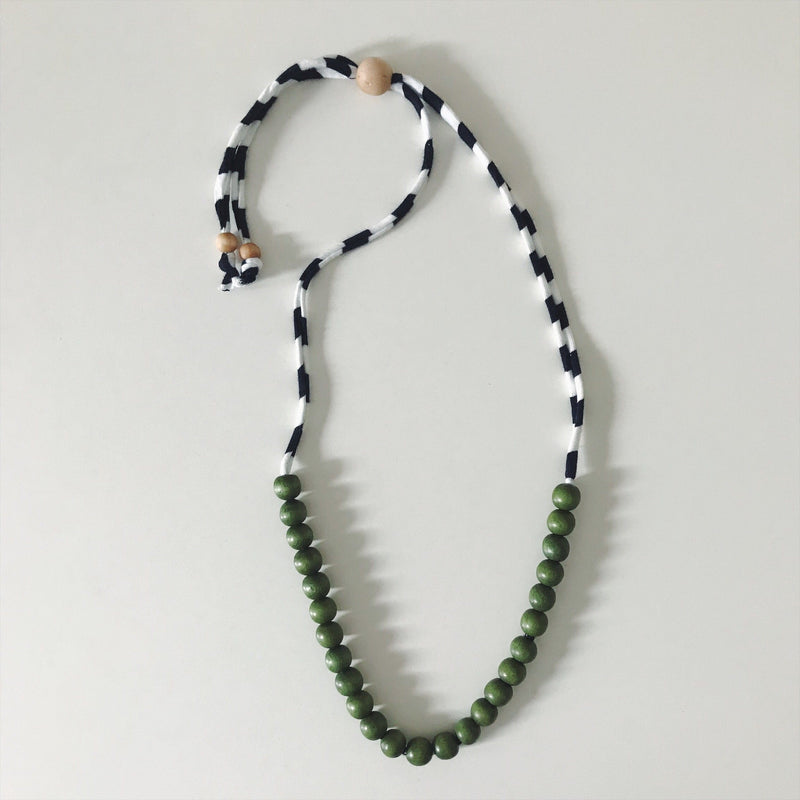 Green Stripe Teething Necklace