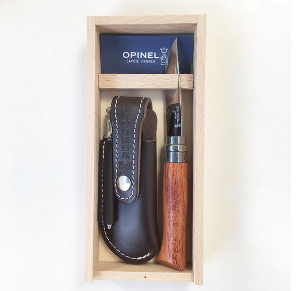 OPINEL Knife - No8 Bubinga Handle. Pouch and Steel Set.