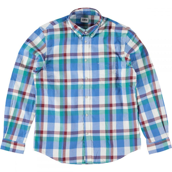 Edwin - Standard Shirt Herringbone Check Blue Mint