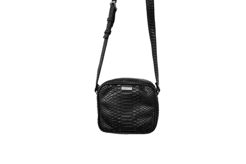 Ankara Mini Cross-Body, Black Matte Snakeskin