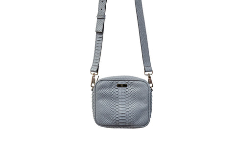 Ankara Mini Cross-Body, Smog Grey Snakeskin