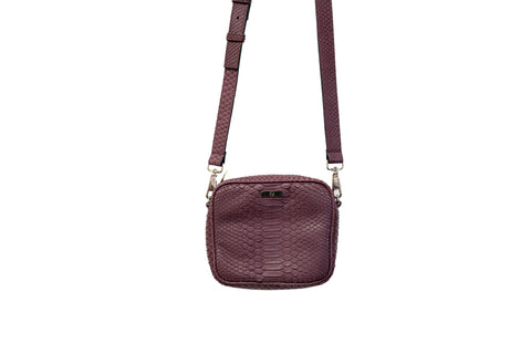 Ankara Mini Cross-Body, Wine Snakeskin
