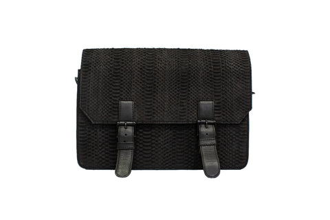 Boston Messenger Bag, Black Matte Whip snake