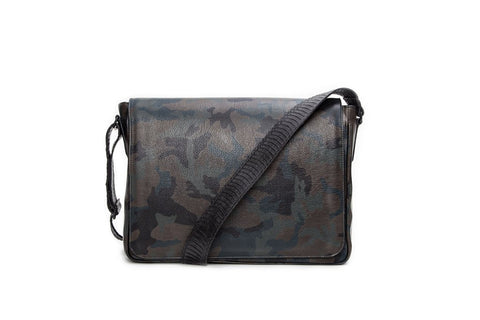 Belfast Computer Bag, Army Green Camo Italian Leather w/ Black Whipsnake Trim