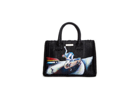 Belgravia Mini Tote, Hand-Painted Skate, Black Watersnake