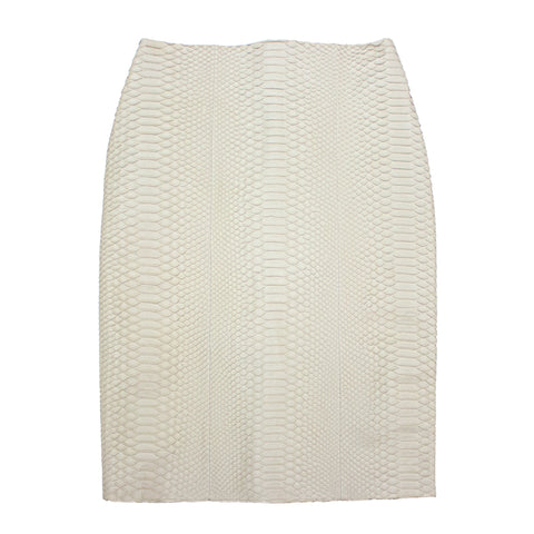 Hollywood High Waisted Skirt, Bone Matte Snakeskin