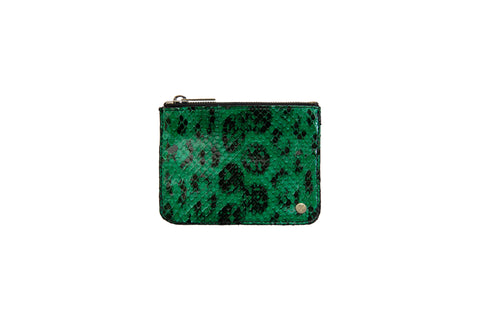 Brazil Small Pouch Green/Black Snakeskin