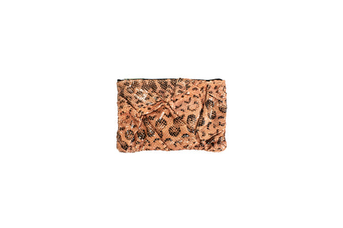 Capri Small Wrinkle Clutch, Mink Glazed Snakeskin