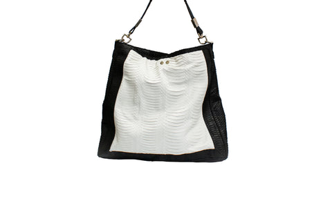 Cuba Handbag, Black/White Watersnake