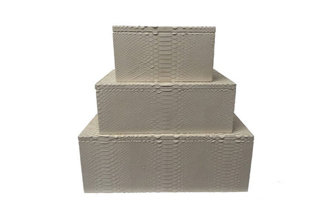 Mykonos Stacking Boxes, Bone Matte Snakeskin