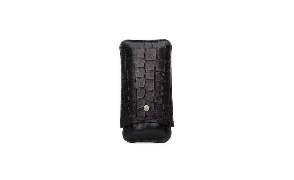 Bahia Cigar Case, Black Croc Embossed Lambskin