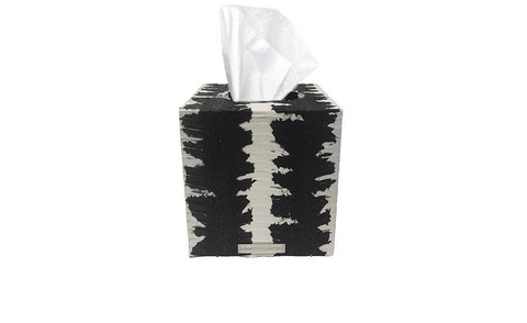 Copenhagen Tissue Box, Matte Black and White Starburst Whipsnake