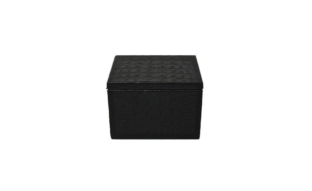 Latvia Condom Box, Black Croc Embossed Lambskin