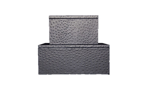 Mykonos Stacking Boxes, Navy Ostrich Embossed Leather