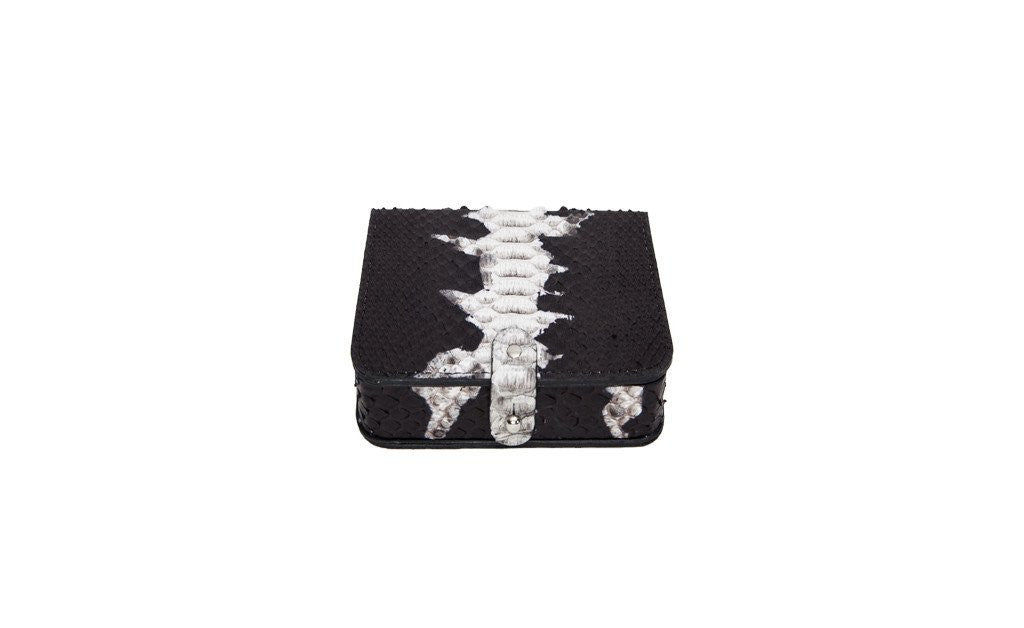 Portugal Travel Card Box, Matte Black and White Starburst Snakeskin