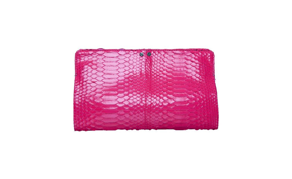Qatar Medium Clutch, Neon Pink Snakeskin