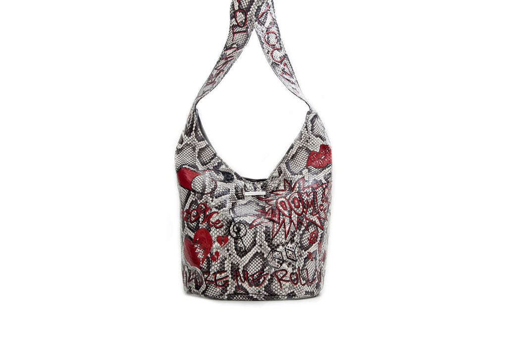 Malibu Cross Body, Hand Painted Graffiti Python Print Elaphe