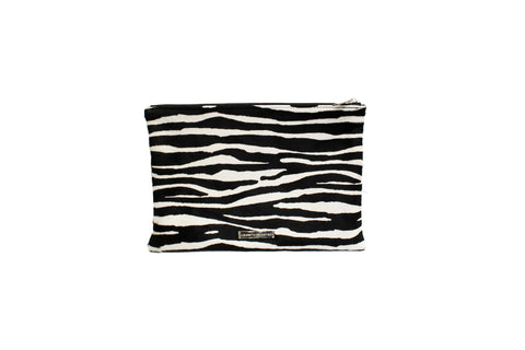 Harbor Island Clutch Large, Zebra Calf