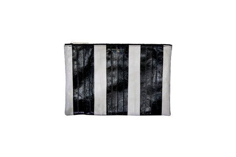 Harbor Island Clutch, Black/Grey/White Eel Skin
