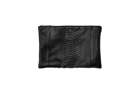 Harbor Island Clutch, Black Matte Snakeskin