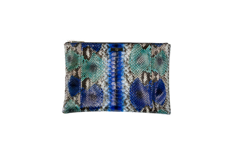 Harbor Island Clutch, Electric Blue Snakeskin