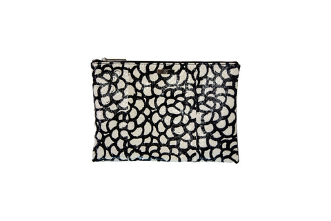 Harbor Island Clutch, Multi Black/White Elaphe
