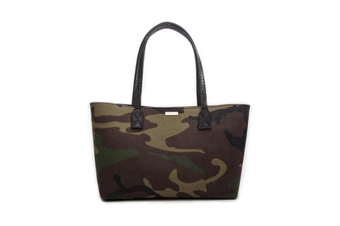 Mini Sydney Tote, Camo Fabric w/ Black Snakeskin Trim