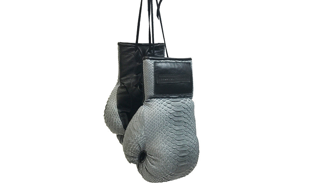 Manila Boxing Gloves, Grey Snakeskin