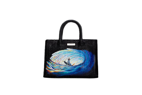 Belgravia Mini Tote, Hand-Painted Surf, Black Watersnake