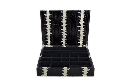 Punta Del Este Jewelry Box, Black and White Starburst Glazed Snakeskin