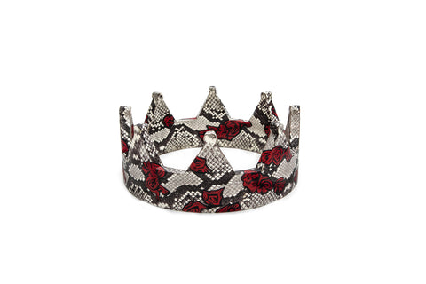England Crown, Hand Painted Fallen Rose, Natural Python Elaphe