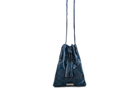 Glastonbury Pouch Cross-Body, French Blue Elaphe