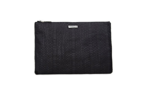 Harbor Island Clutch, Black Italian Watersnake