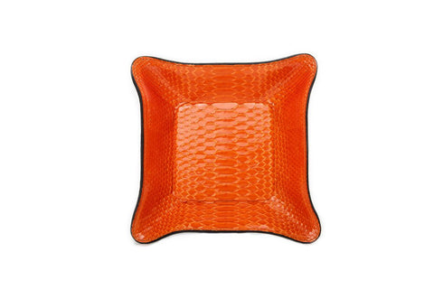 Quebec Travel Valet Large, Orange Glazed Snakeskin