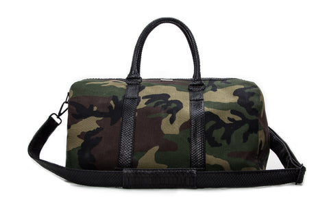 Sardinia Duffle Bag, Camo Fabric w/ Black Snakeskin Trim