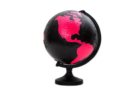 Mundo Globe, Black and Neon Pink Glazed Snakeskin w/ Lambskin Trim