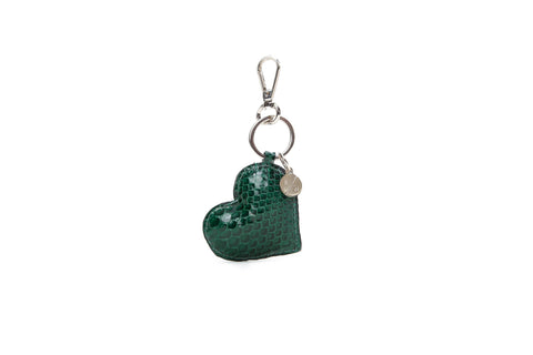 Prague Keychain, Emerald Glazed Snakeskin