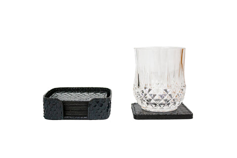 Rabat Coasters, Midnight Glazed Snakeskin